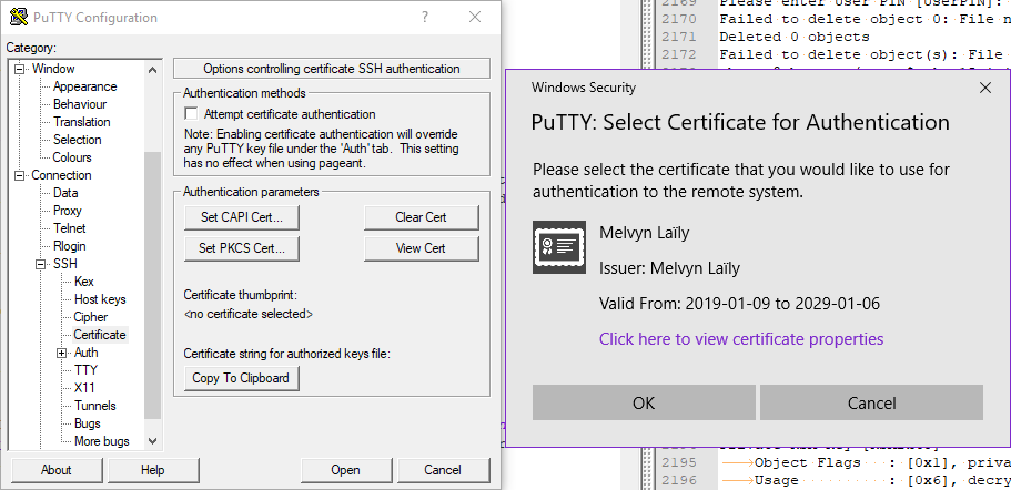 Putty-CAC certificate selection